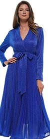 Why Dress-D180606-Royal - Pleated Metallic Fabric Long Sleeve Dress With Surplice Neckline & Sash
