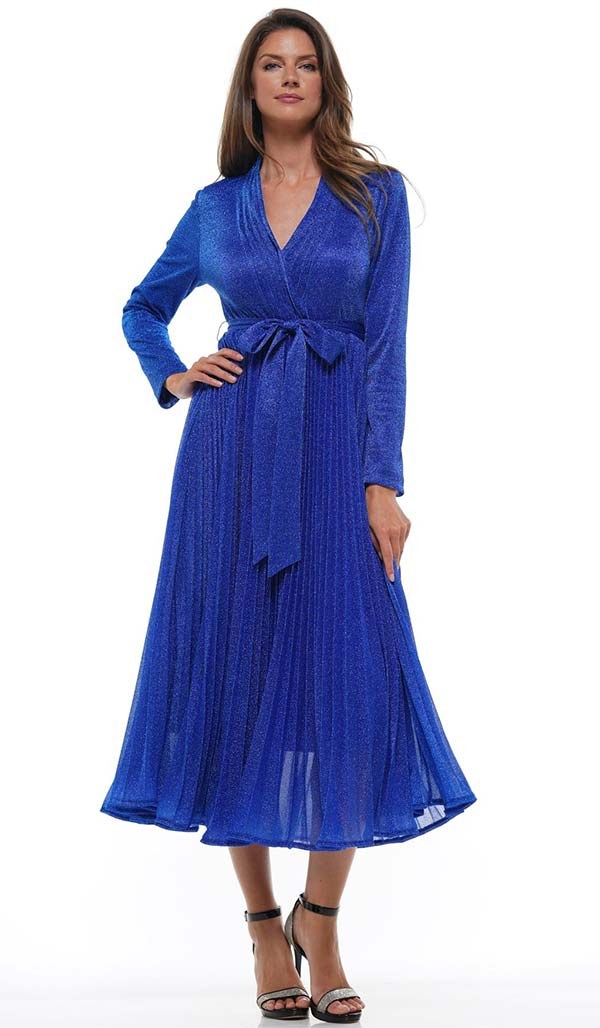 Why Dress-D180606-Royal - Pleated Metallic Fabric Long Sleeve Dress With Surplice Neckline & Sash