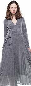 Why Dress-D180606-Silver - Pleated Metallic Fabric Long Sleeve Dress With Surplice Neckline & Sash