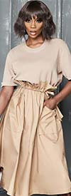 Why Dress-D190072-Toffee - Short Sleeve Dress With Adjustable Tie Waist