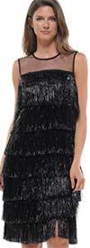 Why Dress-D190941 - Sleeveless Fringe Dress With Sheer Yoke Design