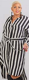 Dubgee 3010 - Long Sleeve Button-Up Vertical Stripe Dress With Belt