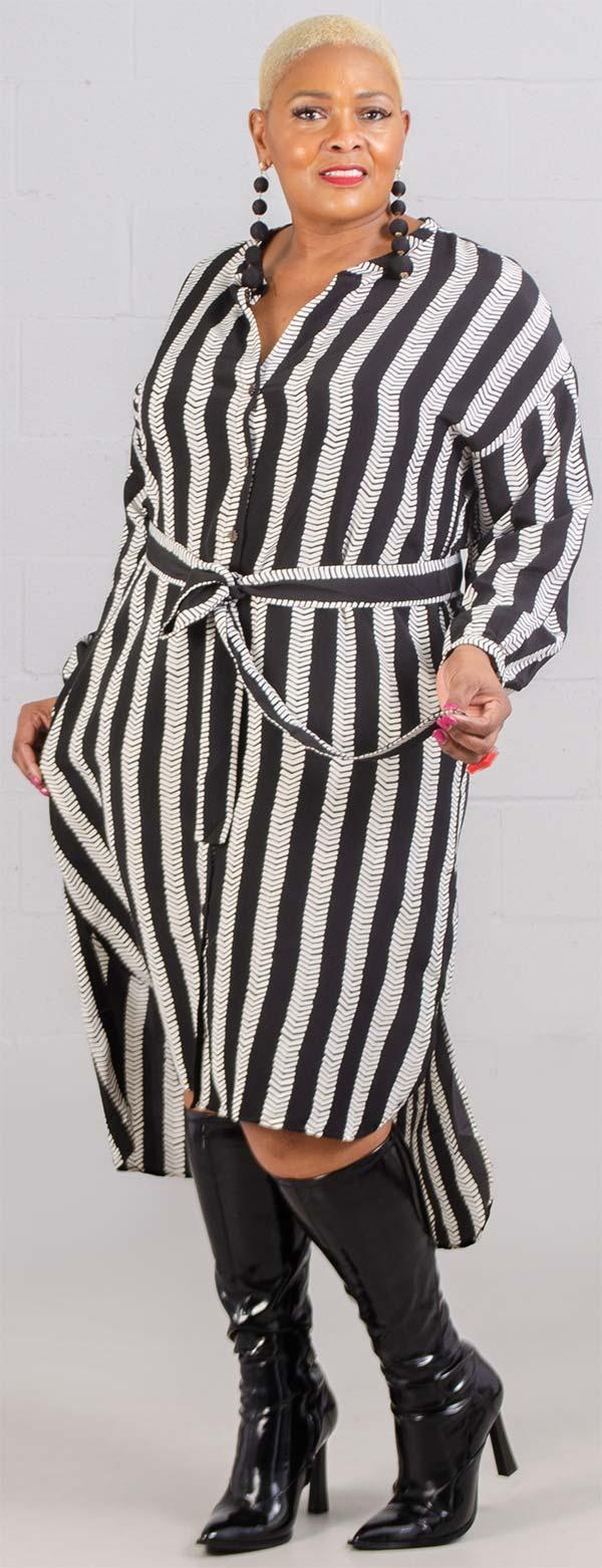 Dubgee 3010 - Long Sleeve Button-Up Vertical Stripe Dress With Belt