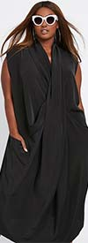 Dubgee 3014-Black - Sleeveless Overlap Style Dress With Pockets