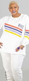 Dubgee 6003-B -  Womens Color Stripe Sweatshirt With Whoopi Logo