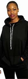 Dubgee 6028-A - Womens Long Sleeve Hooded Top With Printed Text