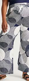 Dubgee 7011X-NavyWhite - Tie-Waist Womens Pant With Circle Print Design