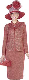 Elite Champagne 4866 Knit Fabric Nehru Collar Jacket & Skirt Suit