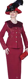 Elite Champagne 4954 Exclusive Knit Fabric Embellished Jacket & Skirt Suit With Brocade Design