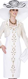 Elite Champagne 4963 Exclusive Knit Fabric Bolero Jacket & Dress Suit With Embellished Design