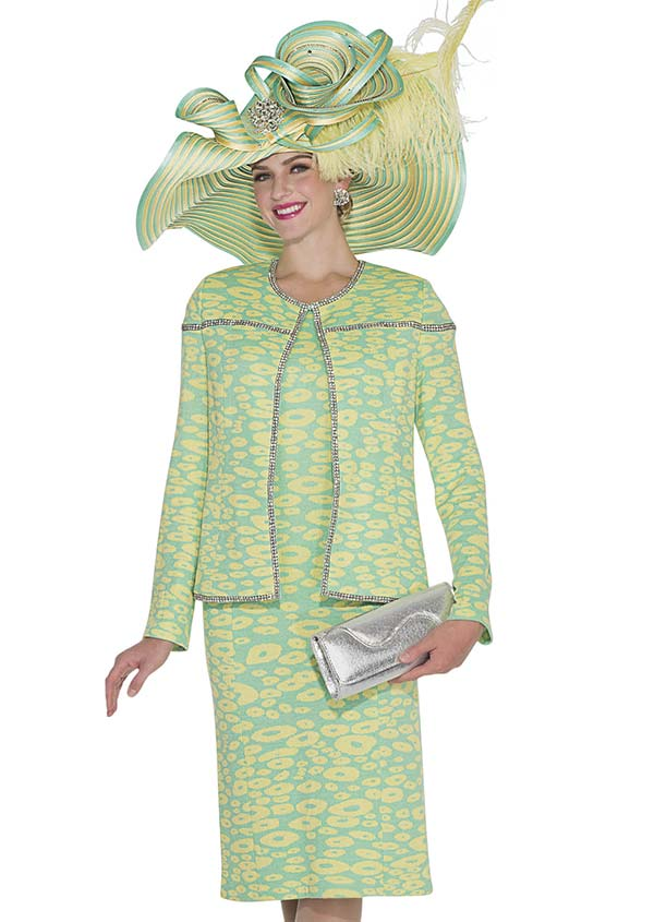 Elite Champagne 4972 Exclusive Knit Fabric Jacket & Dress Suit With Embellished Trim