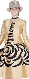 Elite Champagne 4978 Print Twill Satin Fabric Dress With Jacket