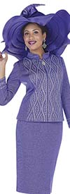 Elite Champagne 5151 Exclusive Knit Fabric Jacket & Skirt Suit With Nehru Collar