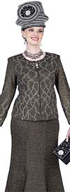 Elite Champagne 5153 Special Knit Fabric Flared Skirt Suit