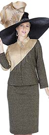 Elite Champagne 5156 Nehru Collar Jacket & Skirt Suit In Exclusive Knit Fabric