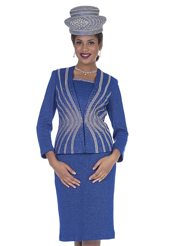 Elite Champagne 5157 Exclusive Knit Fabric Jacket & Skirt Suit With Embellished Design