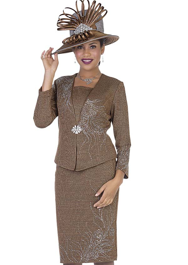 Elite Champagne 5158 Exclusive Knit Fabric Jacket & Skirt Suit With Embellished Floral Pattern