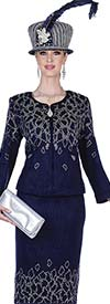 Elite Champagne 5159 Embellished Jacket & Skirt Suit In Exclusive Knit Fabric