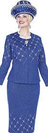 Elite Champagne 5160 Exclusive Knit Fabric Jacket & Skirt Suit With Embellished Design