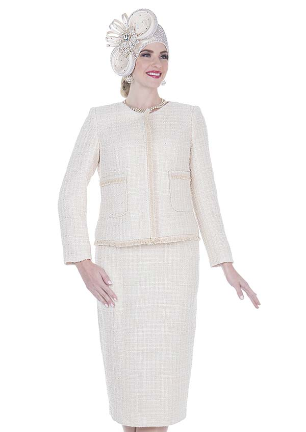 Elite Champagne 5253 Exclusive Poly Knit Fabric Jacket & Skirt Suit With Fringe Trim