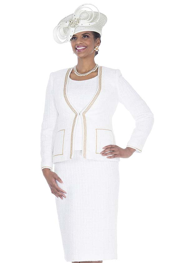 Elite Champagne 5254 Exclusive Poly Knit Fabric Skirt Suit With Jacket & Vest