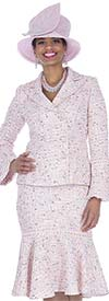 Elite Champagne 5255 Knit Fabric Double Breasted Jacket & Flounce Skirt Suit