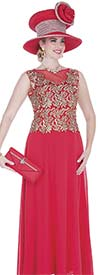 Elite Champagne 5259 Long Dress In Chiffon & Metallic Lace Fabric