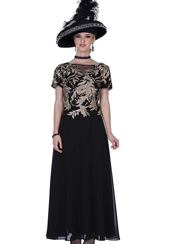 Elite Champagne 5260 Chiffon & Metallic Lace Fabric Dress
