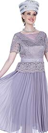 Elite Champagne 5262 Pleated Dress In Novelty Lace Chiffon Fabric