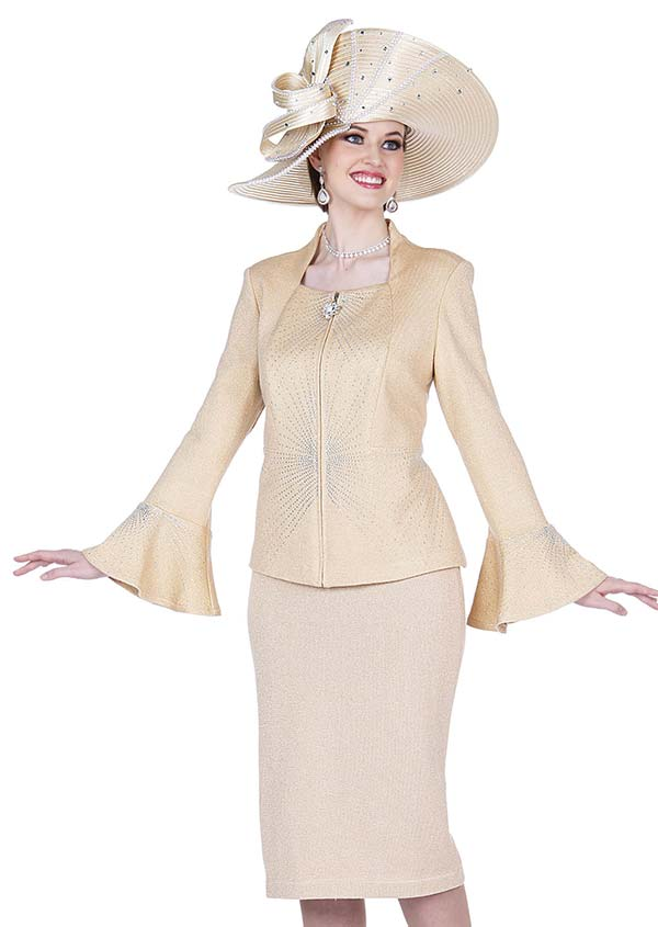 Elite Champagne 5352 Bell Sleeve Cuff Jacket & Skirt Suit In Exclusive Knit Fabric