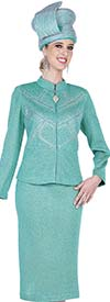 Elite Champagne 5353 Nehru Collar Jacket & Skirt Suit In Exclusive Knit Fabric