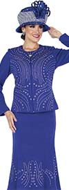 Elite Champagne 5356 Exclusive Knit Fabric Flared Skirt Suit With Embellishments