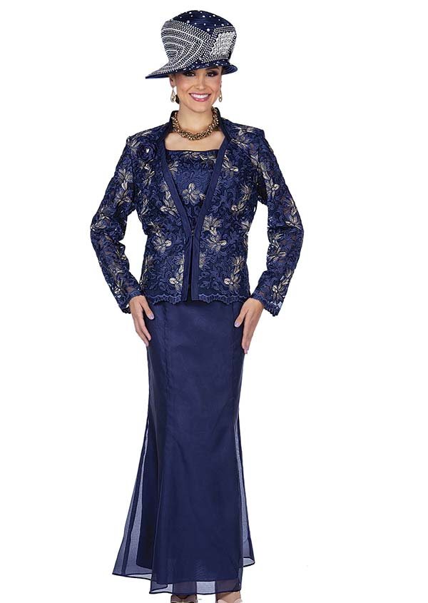 Elite Champagne 5358 Metallic Brocade & Chiffon Fabric Dress Suit With Floral Design Jacket
