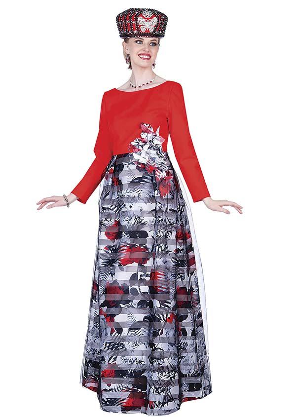 Elite Champagne 5364 Crepe De Chine & Floral Print Crepe Satine Fabric Dress