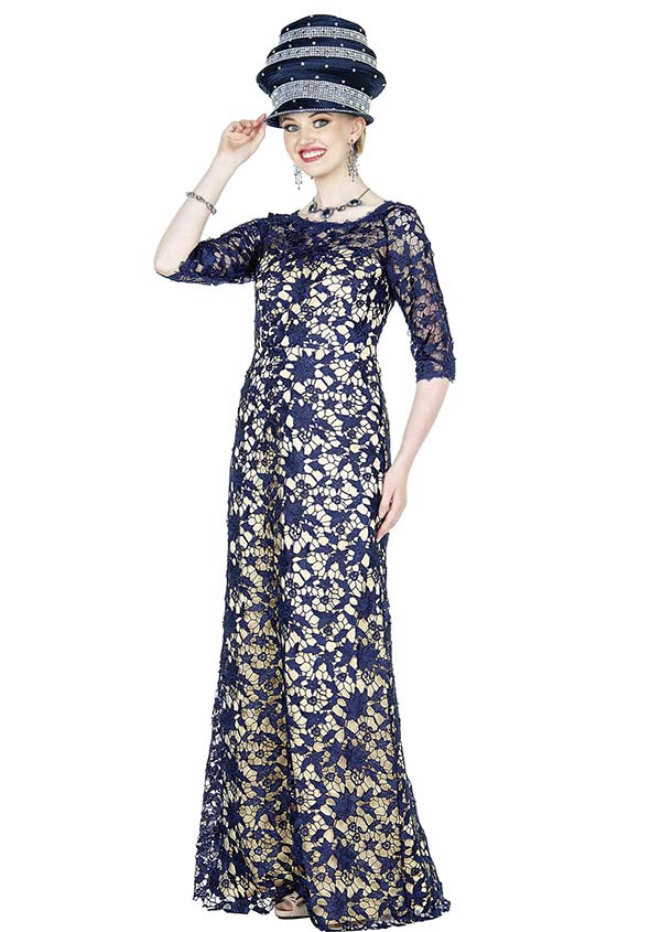 Elite Champagne 5365 Novelty Lace Fabric Dress With Floral Design