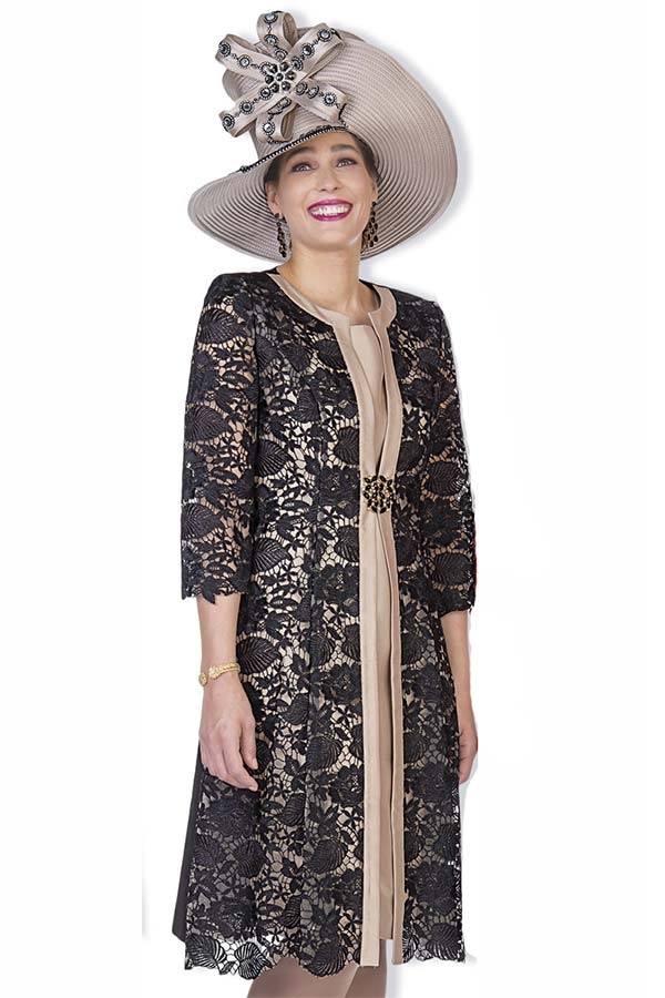 Elite Champagne 5004 Long Jacket & Dress Set In Twill Satin Lace Fabric