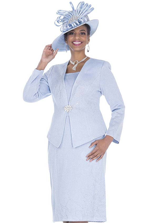 Elite Champagne 5158 Exclusive Knit Fabric Jacket & Skirt Suit With Embellishments