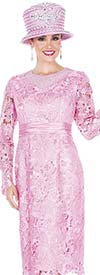 Elite Champagne 5209-Pink Church Dress In Novelty Lace Fabric