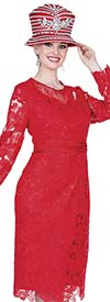 Elite Champagne 5209-Red Church Dress In Novelty Lace Fabric