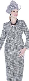 Elite Champagne 5252 Poly Knit Fabric Square Neckline Jacket & Skirt Suit