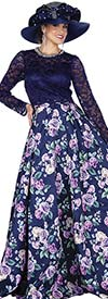 Elite Champagne 5366 Novelty Lace & Floral Print Twill Satin Fabric Dress