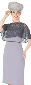 Elite Champagne 5368 Crepe De Chine & Metallic Lace Fabric Cape Style Dress