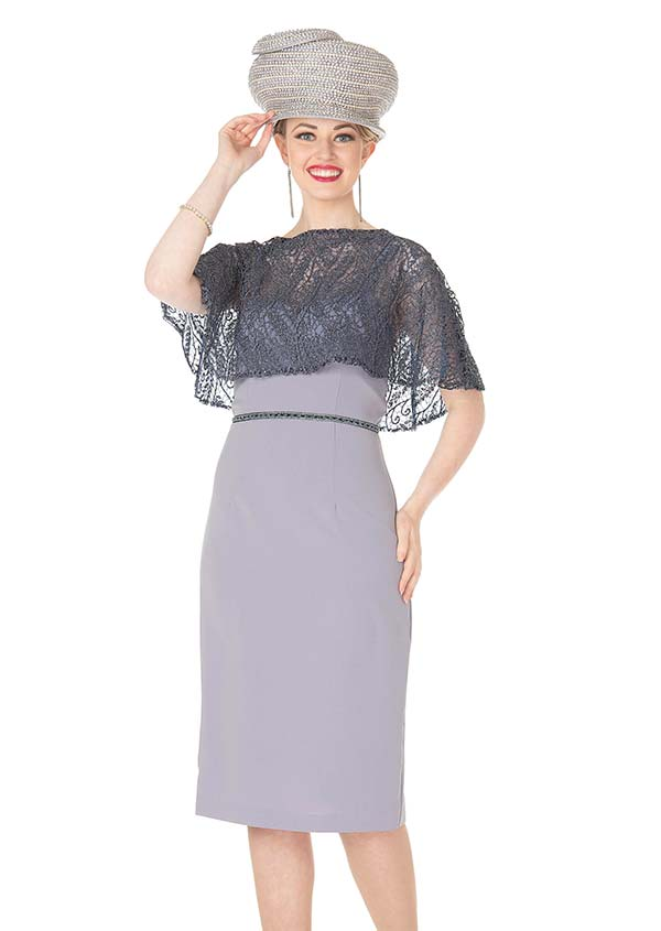 Elite Champagne 5368 Crepe De Chine & Metallic Lace Fabric Cape Style Dress