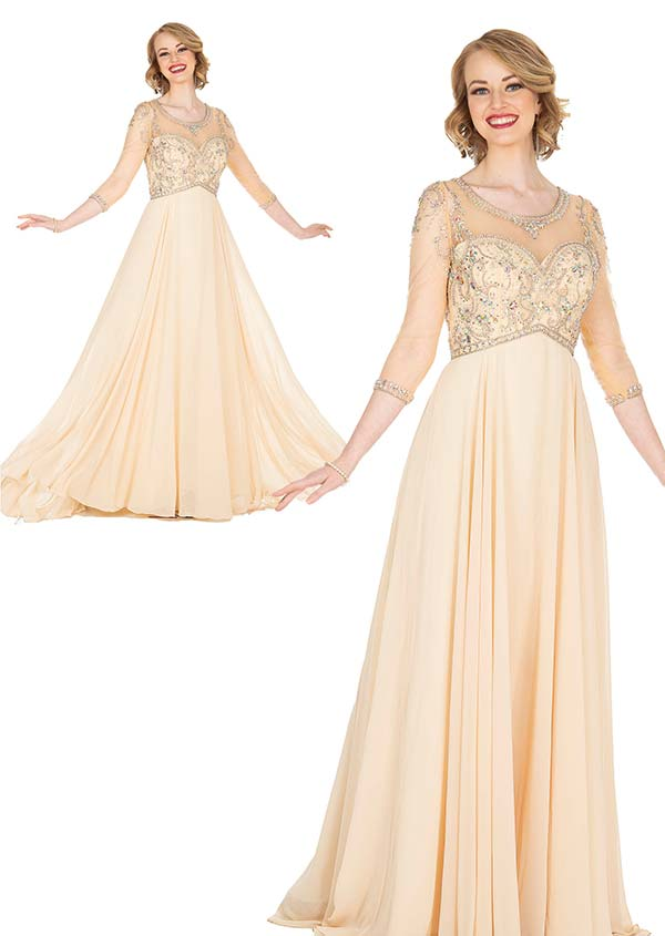 Elite Champagne 5414 Beaded Crepe Chiffon Fabric Evening Dress