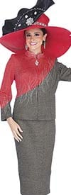 Elite Champagne 5156 Exclusive Knit Fabric Skirt Suit With Asymmetric Color Block Nehru Collar Jacket