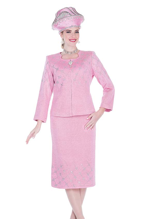 Elite Champagne 5160 Embellished Jacket & Skirt Suit In Exclusive Knit Fabric