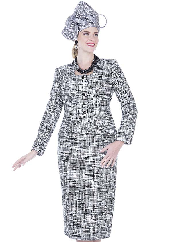 Elite Champagne 5252 Poly Knit Fabric Square Neckline Jacket & Skirt Suit