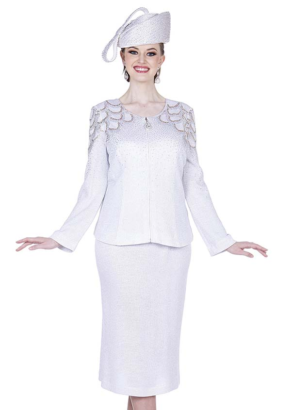 Elite Champagne 5351 Exclusive Knit Fabric Skirt Suit With Embellished Jacket
