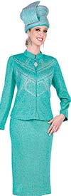 Clearance Elite Champagne 5353 Nehru Collar Jacket & Skirt Suit In Exclusive Knit Fabric