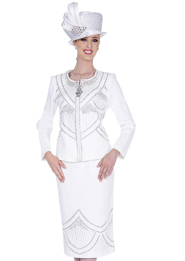 Elite Champagne 5354 Exclusive Knit Fabric Embellished Skirt Suit